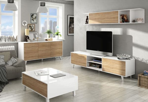 Bari Sideboard Soft White Gloss With Oak Effect 3 doors